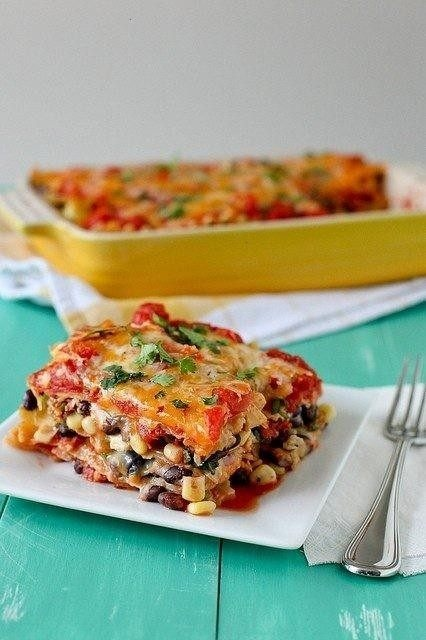 mexican lasagna (vegetarian) | recipes to try | Pinterest