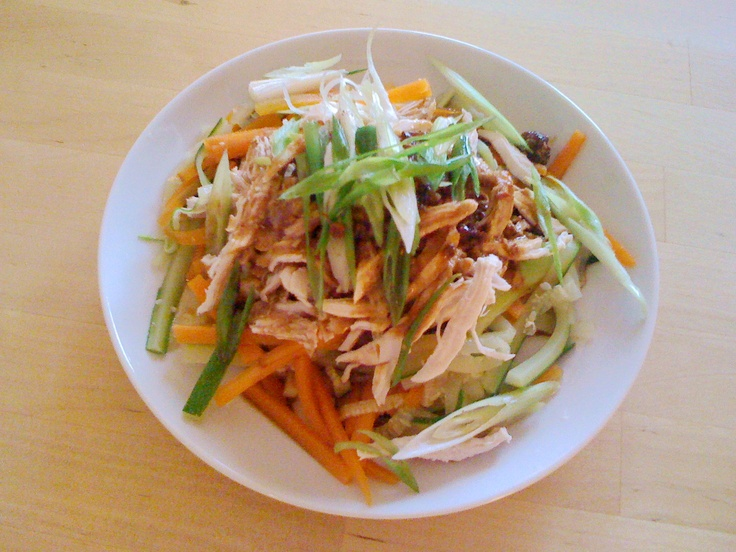 shredded chicken and vegetable salad Sichuan style