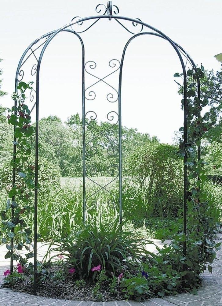 Garden Metal Gazebo : NEW Metal 3 Sided Garden Patio Yard Arbor Gazebo Arch Trellis Hunter ...