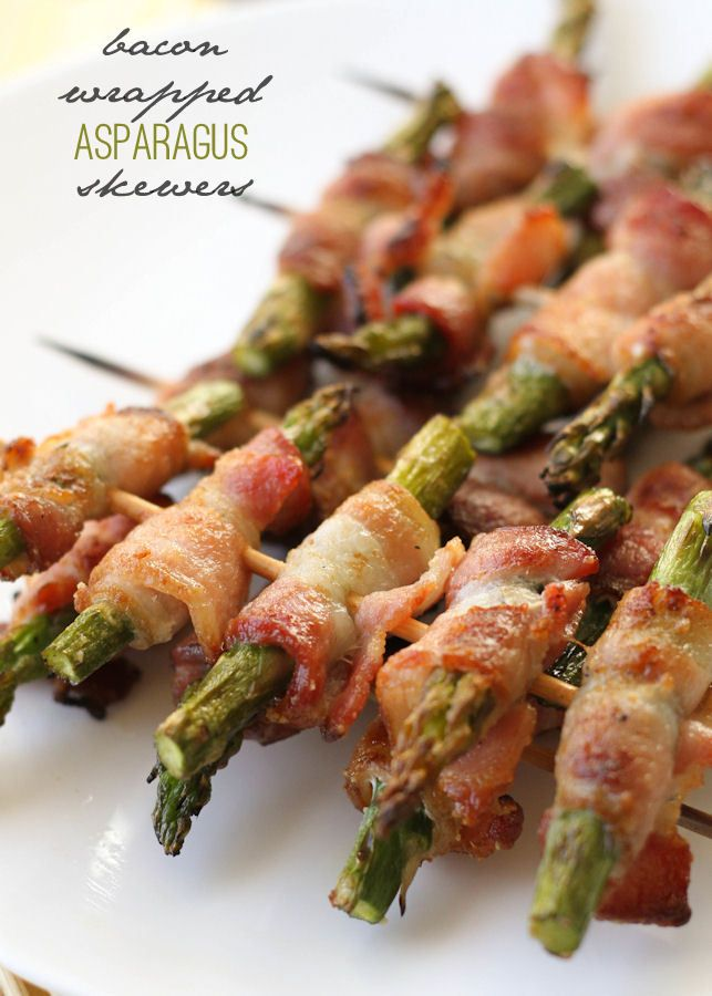 Delicious Bacon Wrapped Asparagus Skewers on { lilluna.com }