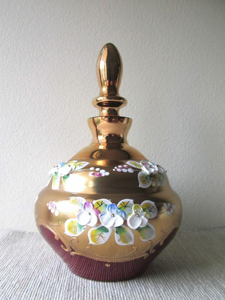 Vintage czech glass perfume bottle hand painted enamel and Painting old glass bottles