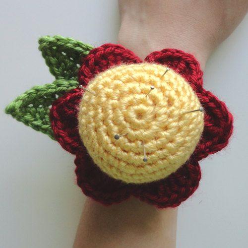 Crochet Flower Pincushion Pattern : Flower Wrist Pin Cushion - PDF Crochet Pattern - Instant ...