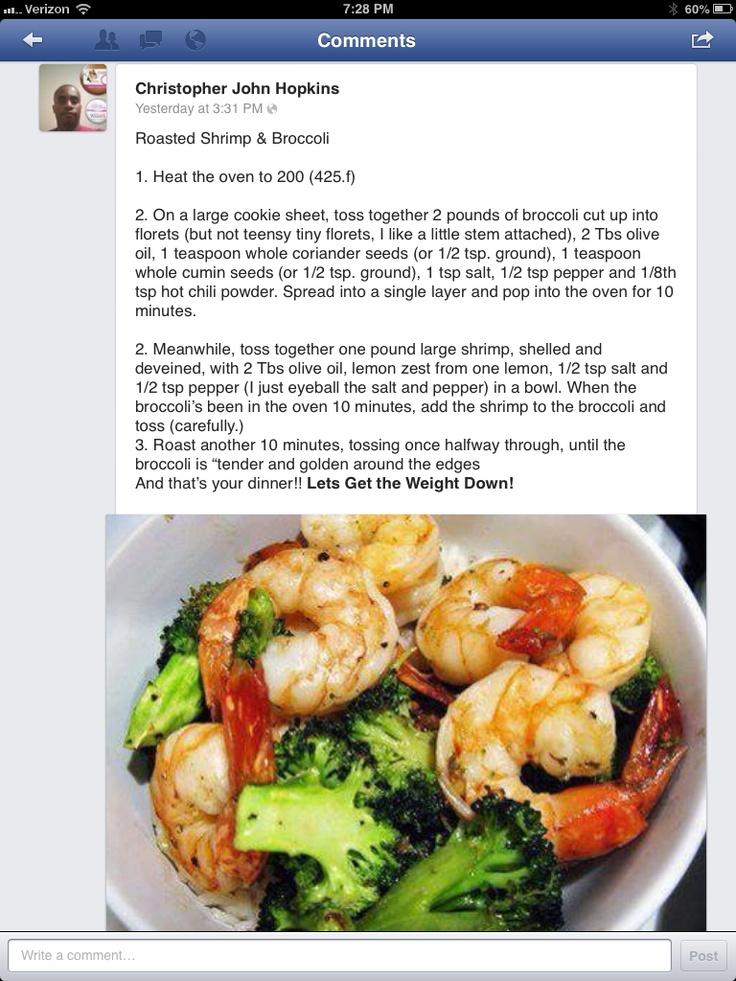 Roasted Shrimp and Broccoli   Dinner recipes   Pinterest