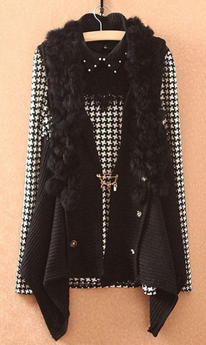 Black Fur Collar Asymmetrical Vest Coat | Women's Apparel | Pinterest