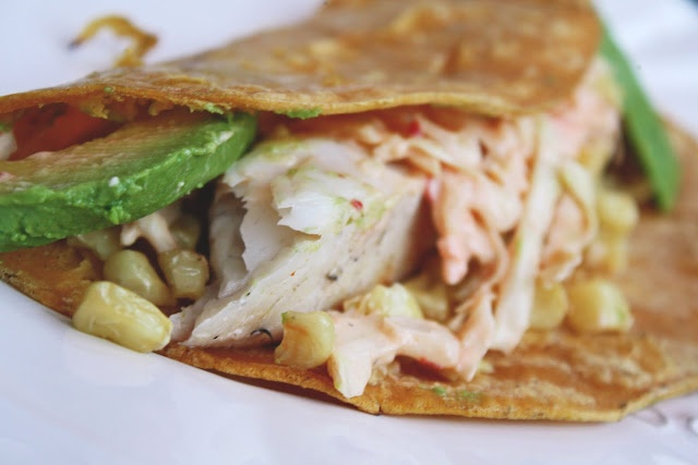 Grilled FISH TACOS with spicy slaw, chipotle corn, and creamy avocado