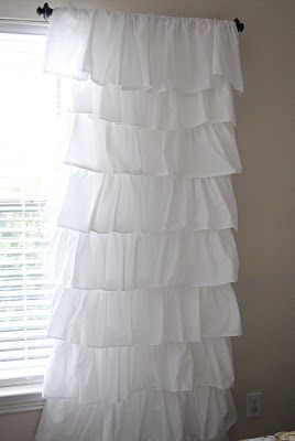 How to make a ruffled curtain using $4 flat sheets from walmart! Saw some like these for $200. so doing this!
