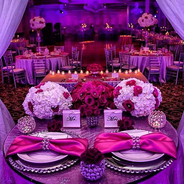 Pink And Purple Wedding: Sweetheart Table Love!