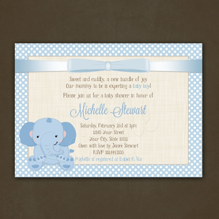 elephant boy baby shower invitations printable boy