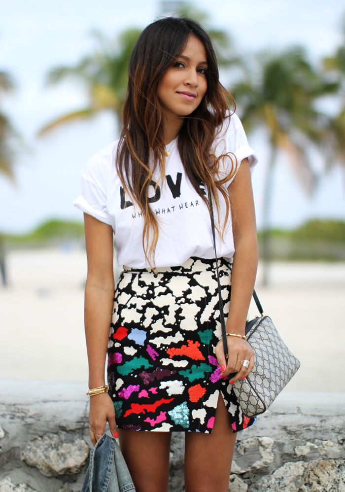 Graphic t x printed skirt