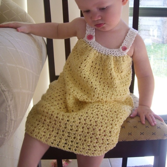 CROCHET PATTERN Pretty Pleated Yoke Dress - Baby to Youth - Pattern ...