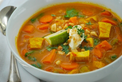 West African Peanut Soup with Sweet Potatoes, Curry and Ginger