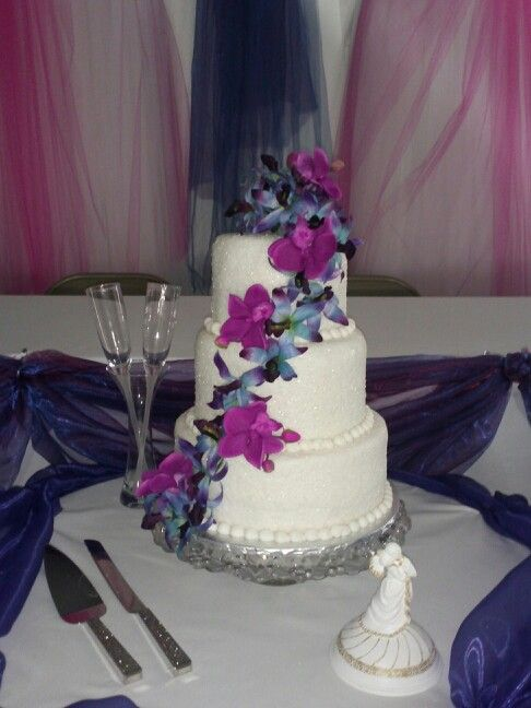 Blue And Purple Orchids On Wedding Cake Sapphs