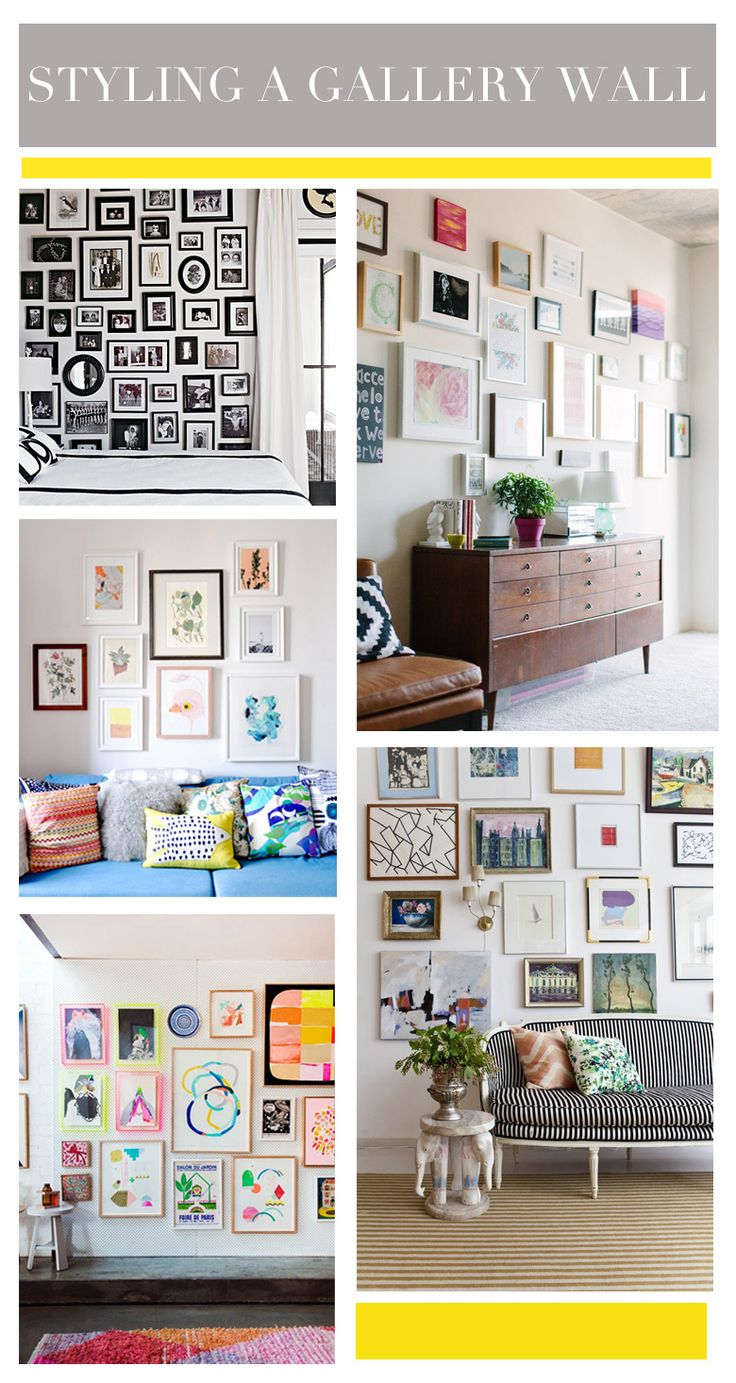 Get creative: The key to an interesting gallery wall is thinking outside of the box–don't just concentrate on incorporating prints, but also other fun elements (think ceramic animals, necklaces hanging in frames, etc.).