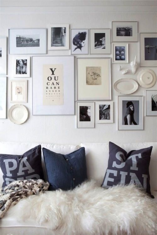 I am preparing to do this to a wall in my family room.  I have gathered antique frames and modern frames - a nice eclectic mix.  Cannot wait to start the process!
