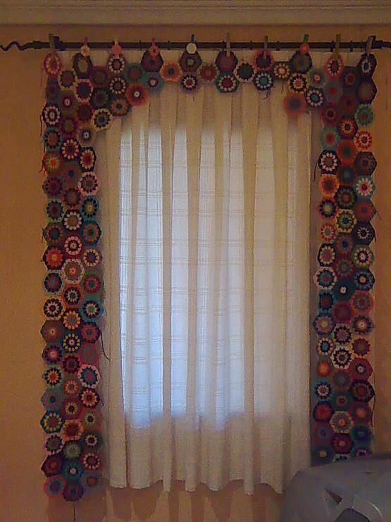 Cortinas De Baño A Crochet:cortina de hexágonos de colores