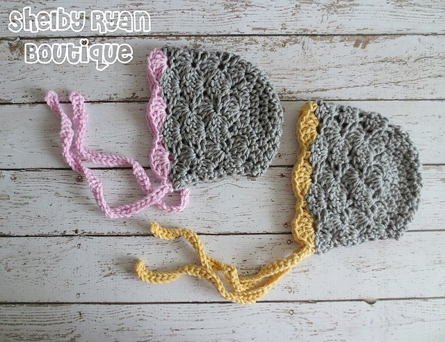 Lacy Shells Baby Bonnet pattern by Crochet by Jennifer