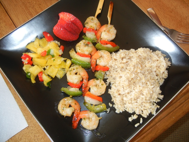 Lime Shrimp Skewers. Brown Rice. &My Homemade Pineapple Salsa ...