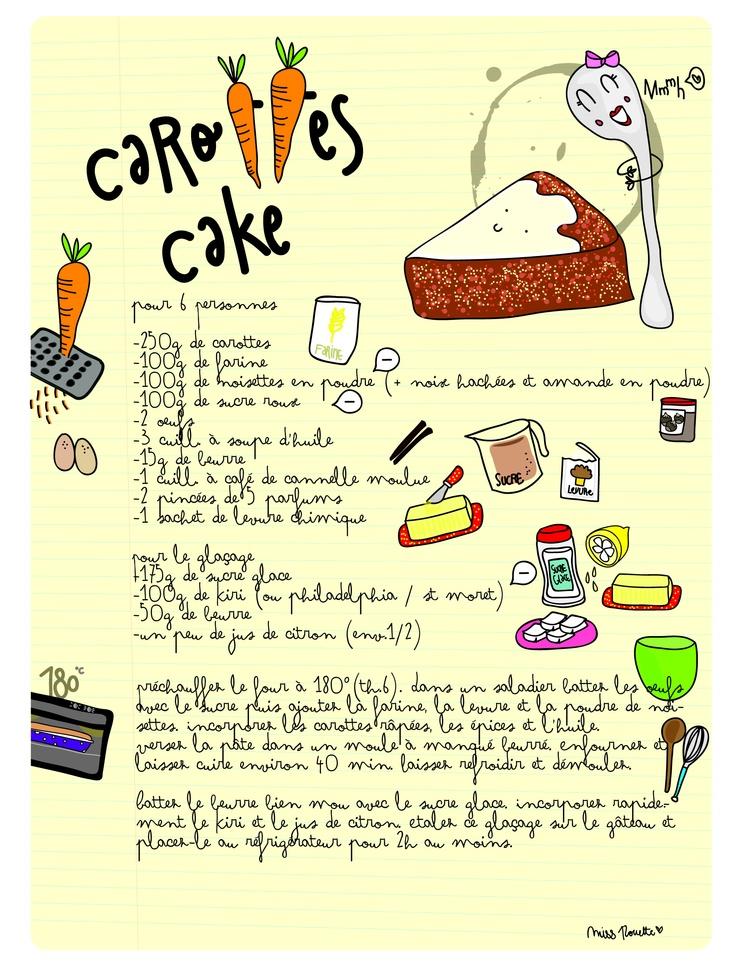 recette carotte cake food illustration pinterest. Black Bedroom Furniture Sets. Home Design Ideas