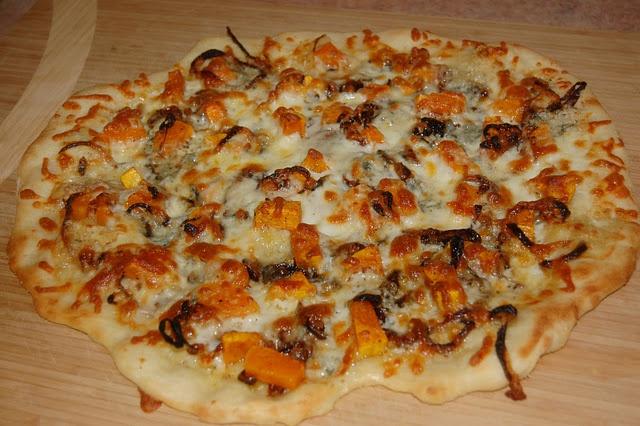 butternut squash, caramelized onion, and gorgonzola pizza