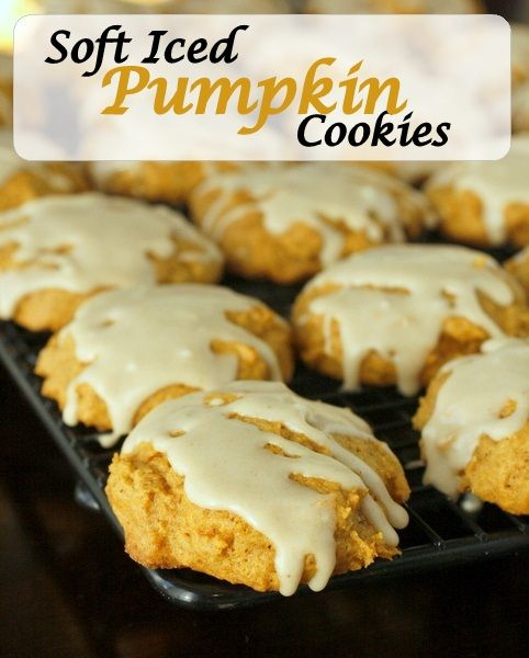Soft Iced Pumpkin Cookies Recipe ~ Says: They are soft and cake-like ...