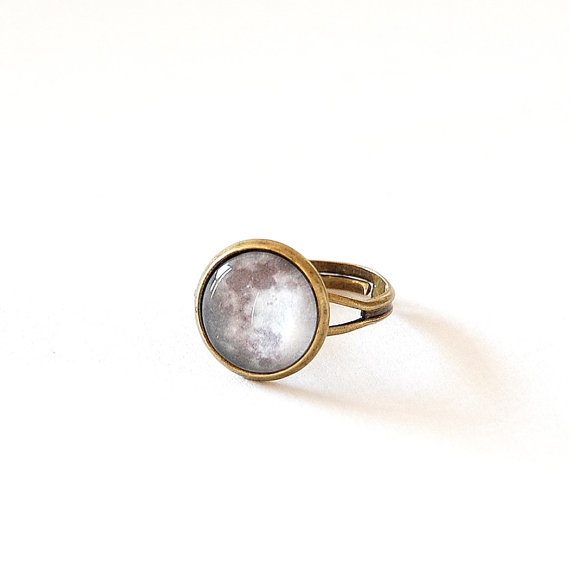 moon ring adjustable glass dome ring space jewelry