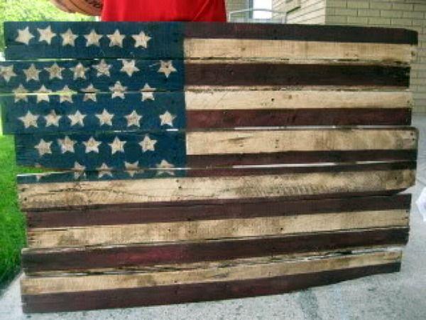 Diy pallet flag red white blue pinterest - American flag pallet art ...