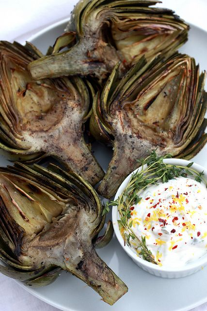 Grilled Artichokes with Lemon-Thyme Aioli by laurenhcraig, via Flickr