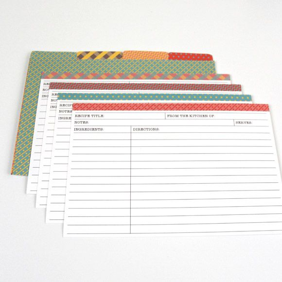 Free Printable - Matching recipe cards u0026 dividers 4x6