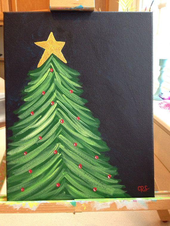 Original holiday glitter christmas tree painting christmas for Christmas art painting ideas