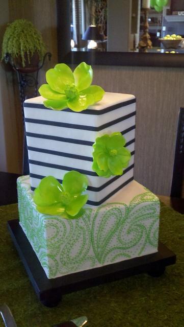Paisley & Stripes wedding cake