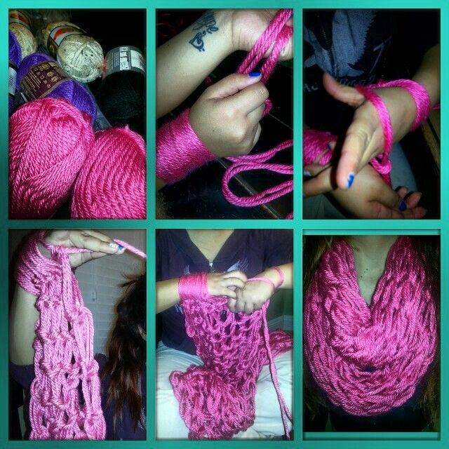 Arm knitting, infinity scarf CRAFTS Pinterest