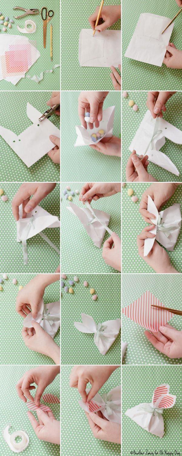 Para os ovinhos de chocolate de sobremesa ou até mesmo para seus convidados levarem pra casa, faça um envelope em formato de coelhinho, como nesse tutorial. Fica um charme!
