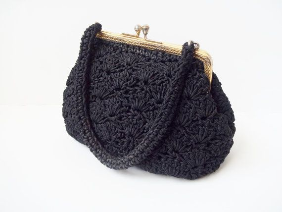 Crochet Evening Bag Pattern : Vintage 1950s Black Crochet Frame Evening Bag Purse.