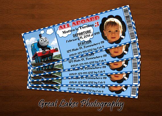 personalized thomas the train birthday ticket invitation digital fi