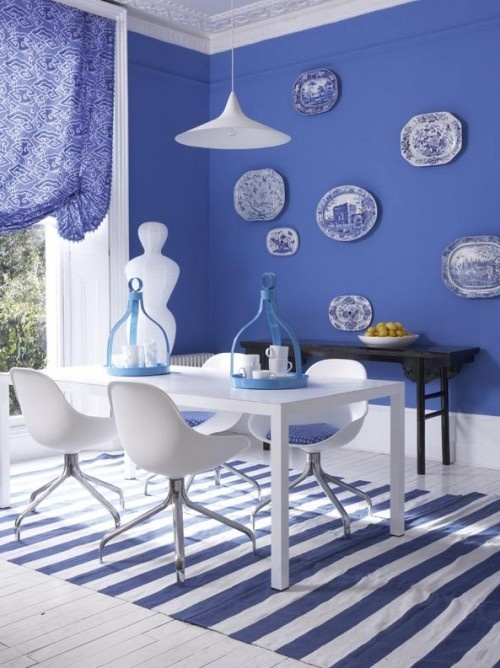 Cornflower blue white dining room