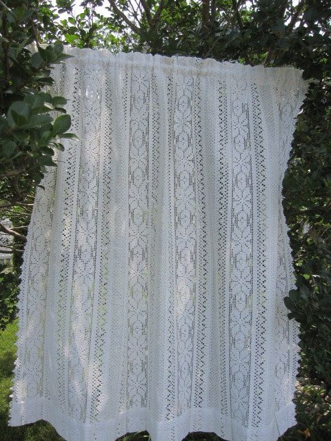 vintage lace curtain off white lace cafe curtain by thecottageway 18