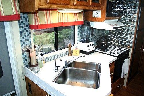 rv backsplash tile project vintage trailer design pinterest