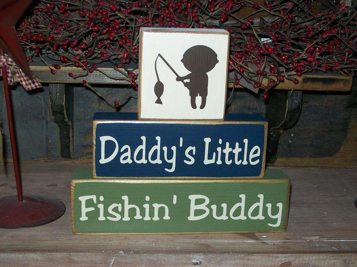 Fishing decor fishing buddy primitive wood sign blocks nursery