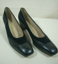 Faboulous Ferragamo Shoes Black 9 AAAA Narrow Leather Suede Croc