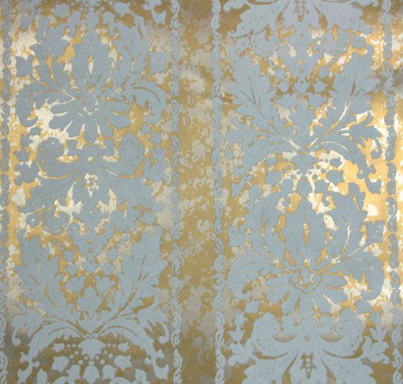 1970's Vintage Flocked Wallpaper marbled gold background and white ...