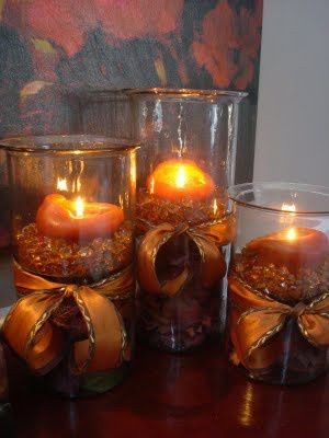 Candle fall decorations fall halloween crafts pinterest for Fall candle centerpiece ideas