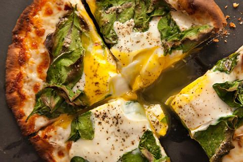 Breakfast Pita-Pizza-Cover pita bread with cheese, herbs & spinach ...