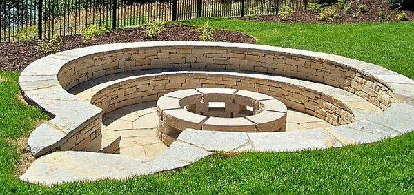 Sunken Backyard Fire Pit : gabion outdoor sunken stone firepit