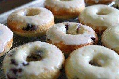 Baked Blueberry Donuts with a Lemon Glaze