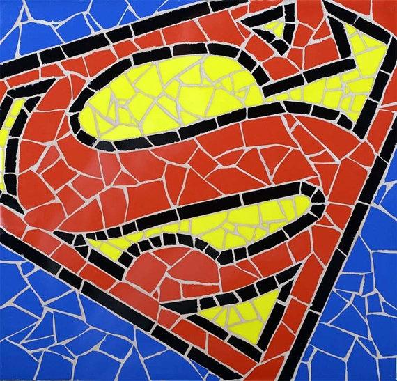 Superman unique handmade tiles mosaic for Unique mosaic tile