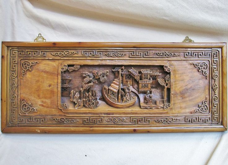 Big quot vintage chinese carved wood panel with pagodas