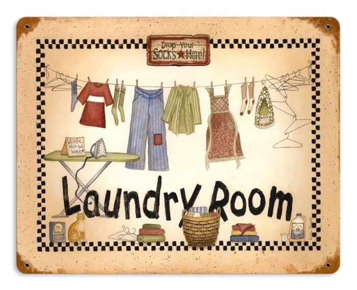 Retro Laundry Room Tin Sign 14 x 11 Inches