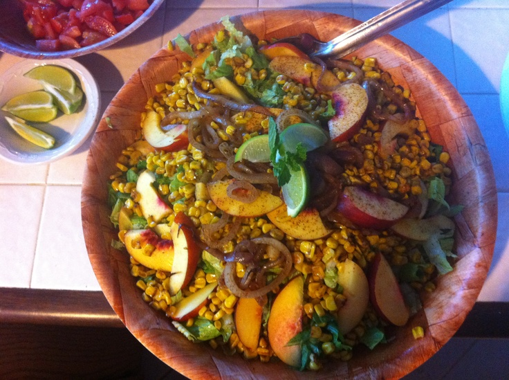 Grilled Peach & Corn Summer Salad ...with red onion, lime, cilantro ...