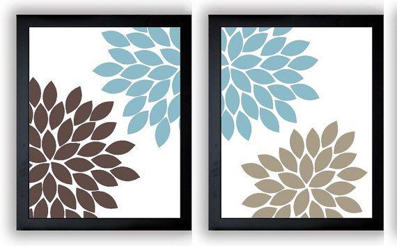 blue brown beige chrysanthemum flowers art print wall decor modern mi