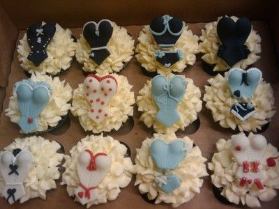 lingerie bridal shower or bachelorette party cupcakes